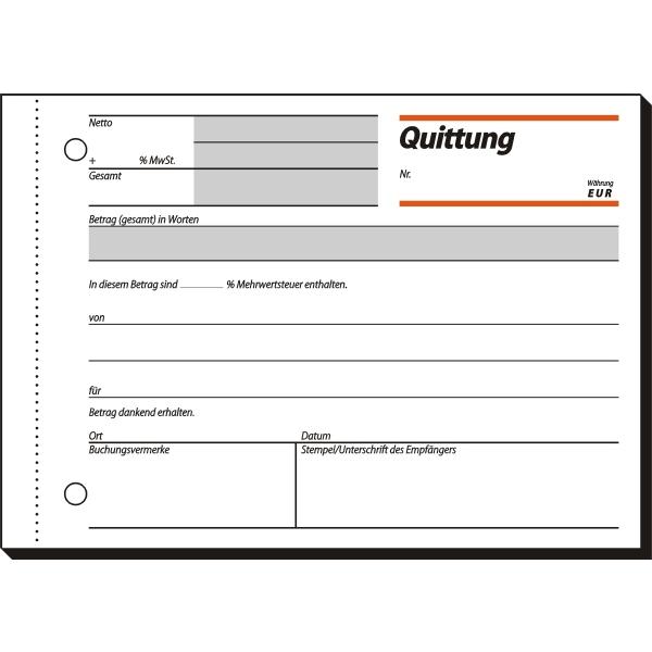 Sigel Formularbuch Quittung A6 quer VE=50 Blatt | mcbuero.de
