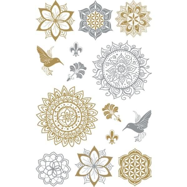 Z design creative deko sticker floral gold silber 12 st ck for Creative deko