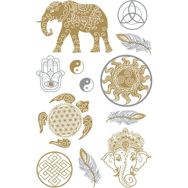 z design creative deko sticker kraft gold silber 11 st ck. Black Bedroom Furniture Sets. Home Design Ideas