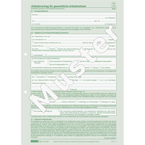 Brunnen Arbeitsvertrag Gewerblich A4 2x2 Blatt Selbstdurchschreibend