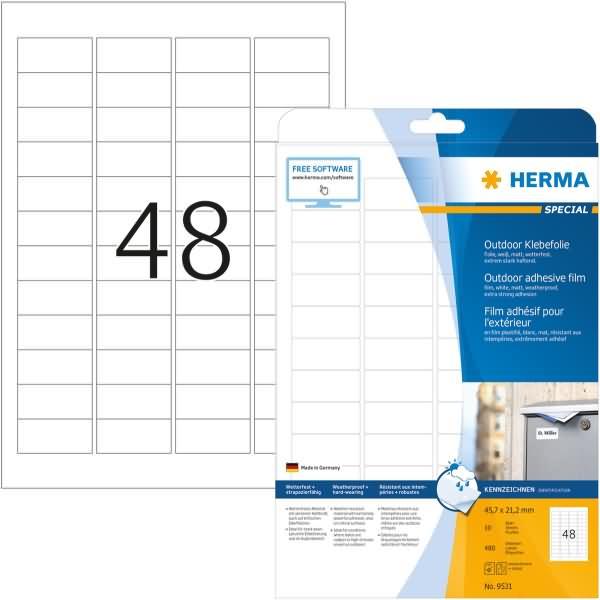 Herma etiketten outdoor klebefolie wei 45 7x21 2mm for Klebefolie abwaschbar