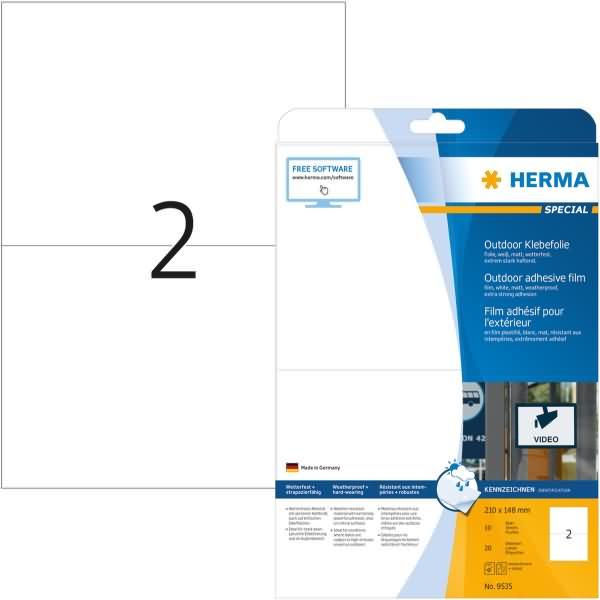 Herma etiketten outdoor klebefolie wei 210x148mm special for Klebefolie abwaschbar