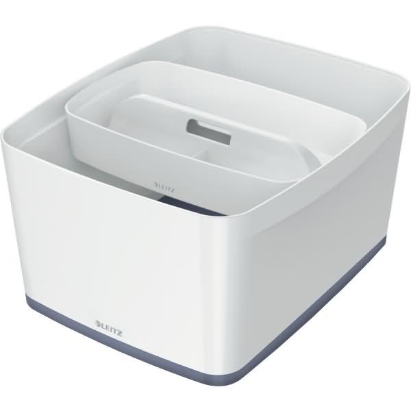 leitz aufbewahrungsbox mybox gro a4 mit deckel wei grau. Black Bedroom Furniture Sets. Home Design Ideas