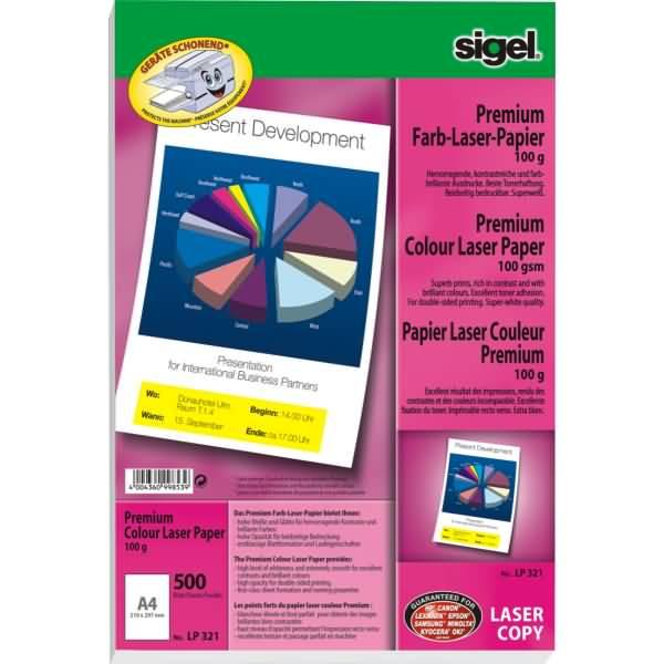 sigel premium farb laser kopier papier a4 100g qm 500. Black Bedroom Furniture Sets. Home Design Ideas