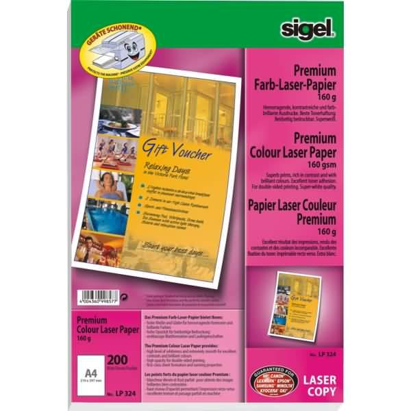 sigel premium farb laser kopier papier a4 160g qm 200. Black Bedroom Furniture Sets. Home Design Ideas